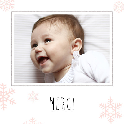 Carte de remerciement Merci flocons photo rose clair finition