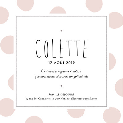 Faire-part de naissance Big dots carré rose finition